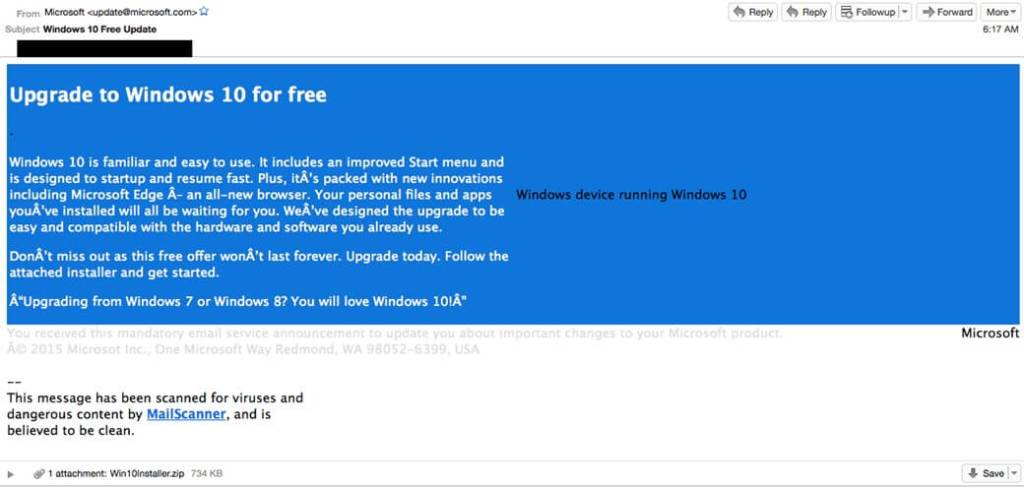 Mensagem Notificação Upgrade Windows 10 Golpe