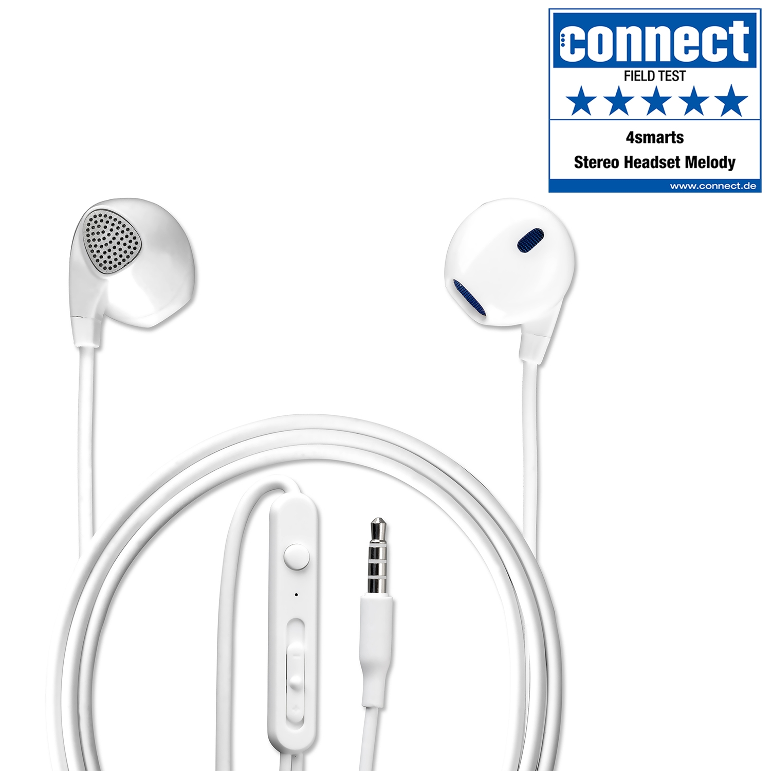 In Ear Stereo Headset Melody 3 5mm Audio Cable 1 2m White