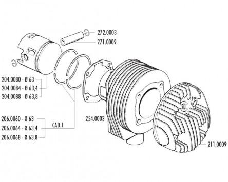 Kolbenkit POLINI 177ccm 63mm für LML Star Deluxe, Vespa PX