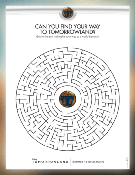 Fun Family Activity for TOMORROWLAND: A Disney Fan MUST! maze