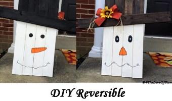 DIY Reversible Scarecrow To Snowman Pallet