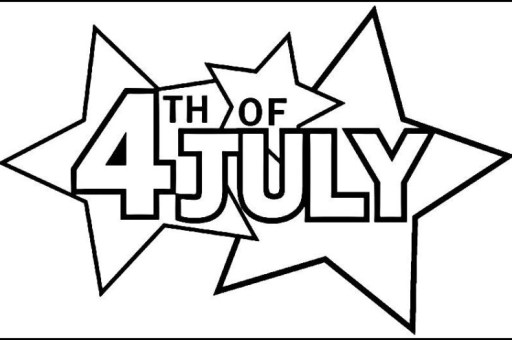 4th of July Clipart Black and White