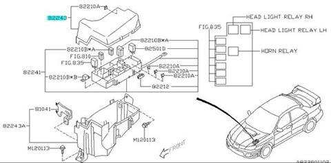Cover-fuse box upper Impreza WRX/STI 2005-2007