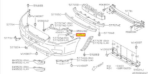 Bolt upholstery/speaker, bumper bracket Impreza 2000-2011