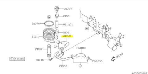 Hose, oil cooler Impreza STI 2008-2013, WRX STI 2014