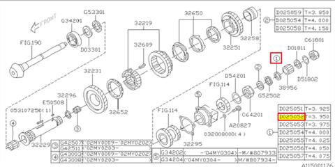 Washer, pinion shaft clearance adjustment Subaru 5MT T=3