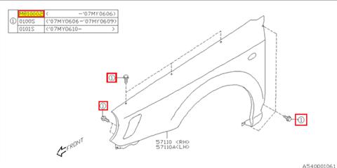 Bolt, fender Impreza 1993-2011, BRZ, Forester 1998-2011