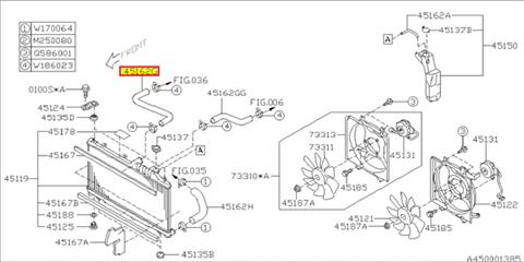 Hose, radiator, Diesel upper Legacy/Outback 2009-2014