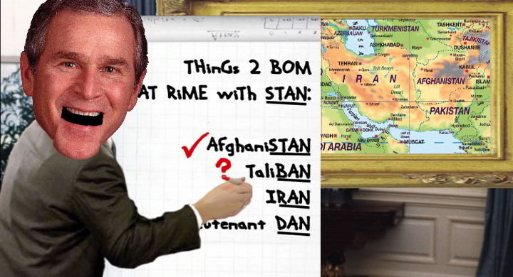 Will Bush bomb Iran, cartoon