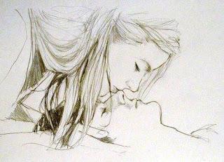 enamorado beso byn