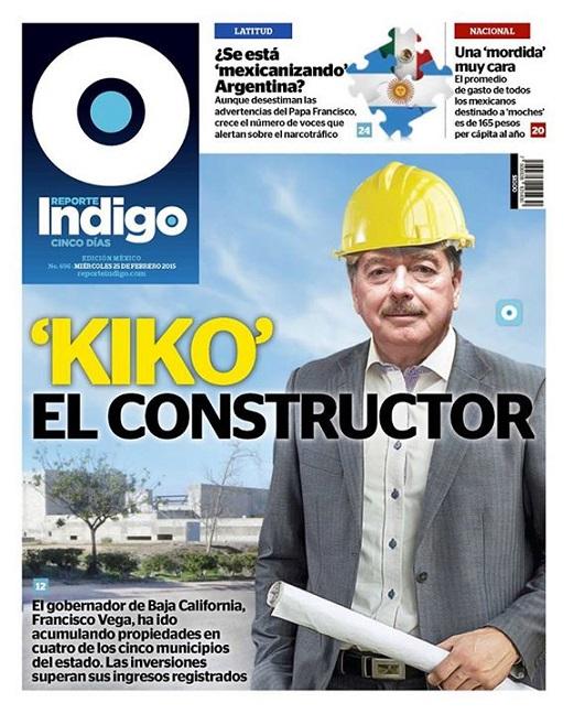 La portada de la revista Reporte Índigo en donde se publica el reportaje de los bienes inmobiliarios del gobernador Vega de Lamadrid (Foto: Internet).