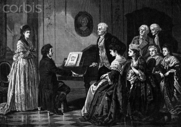 Illustration of Beethoven Performing Before Mozart