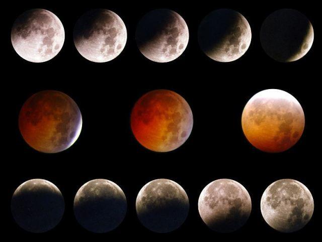 Fases de eclipse parcial y total (en color naranja) de la Luna (Foto: Instituto de Astronomía de la UNAM).