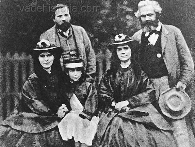Marx y Engels con familiares (Internet).