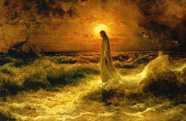jesus camina agua