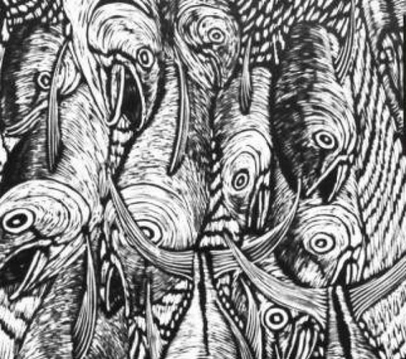 """Pescados, obra de la colección  """"Mar y Tierra"""", del artista Leonel Flores, una retrospectiva de los últimos 20 años de su larga carrera artística."""