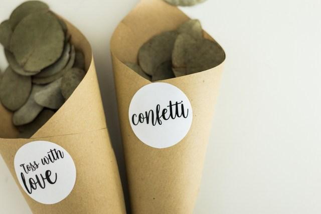 Kit confetti organic (hârtie kraft + stickere)