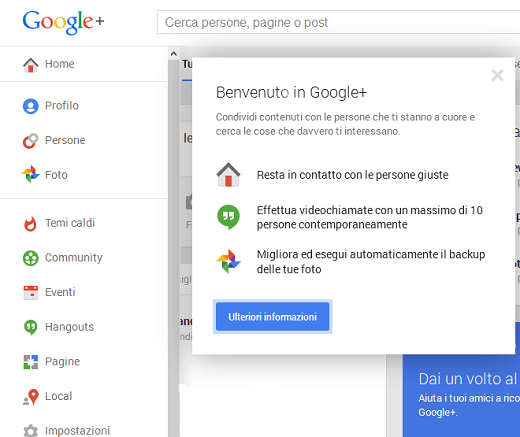 Benvenuto in Google plus