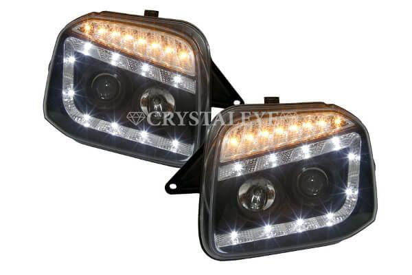 JB23 ジムニー 流れるLEDウインカー内蔵 10連LEDプロジェクターヘッドライトV2(ブラックタイプ)