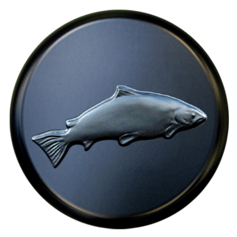 3D Leaping Salmon spare wheel cover made from tough polypropylene hard plastic