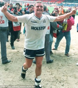 Paul Gascoigne celebrating snipped