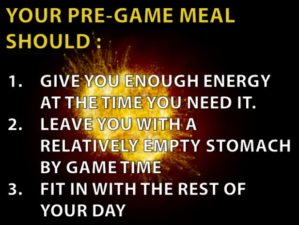 Pre Game Meal - 3 purposes of pre game meal
