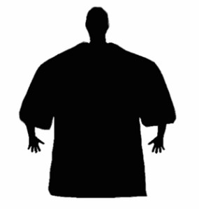 Silhouette of a sinister creature, or just a small player who was given the XXXL shirt.