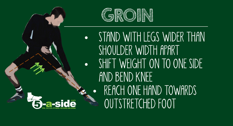 groin muscle stretch for cooling down after a match