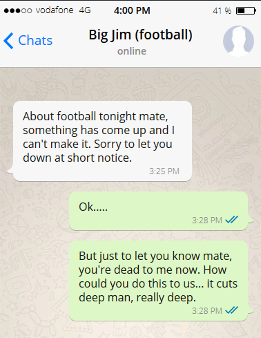Football excuse message