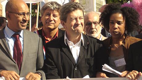 Harlem Désir, Eric Coquerel et Jean-Luc Mélenchon à la manifestation de soutien le 24 septembre © EGALITE – Catherine Capdeville