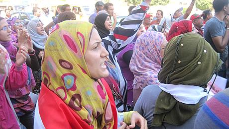 Amal Saeed pendant une manifestion à Mehallah
