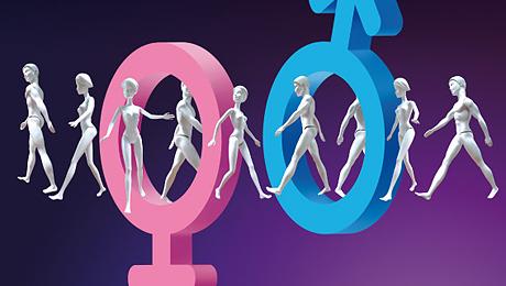 """Détail de l'affiche de l'exposition """"Homme, femme, testez vos différences"""""""