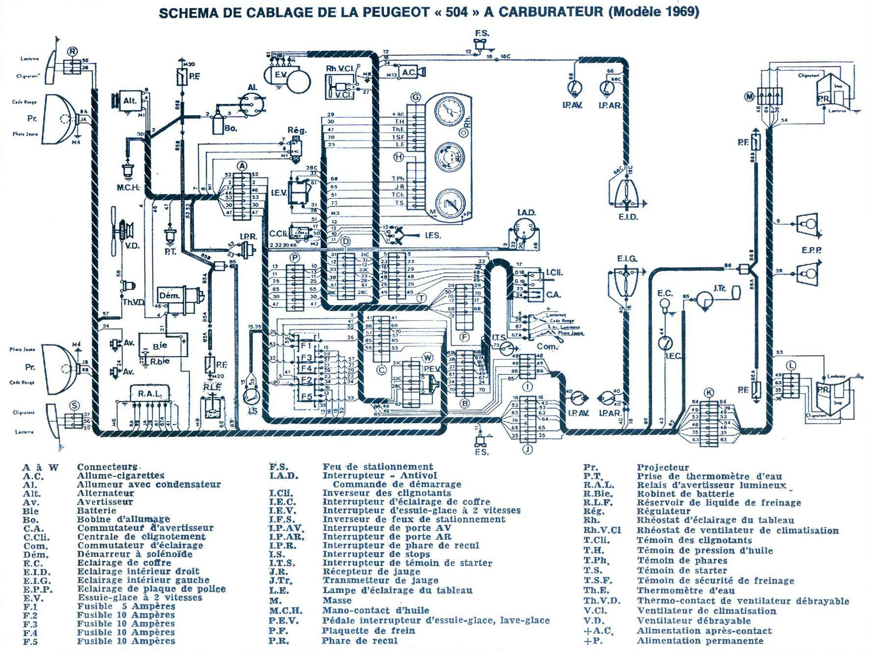 hight resolution of electrical scheme of the 1969 benzin 504 with carburetor 330ko