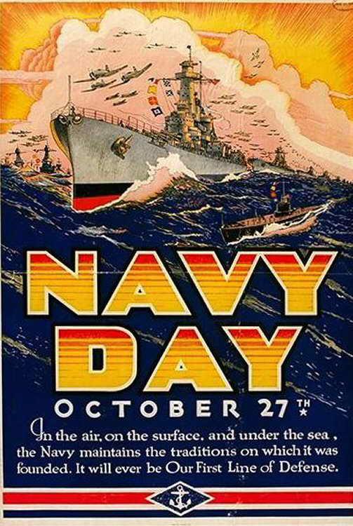 Navy Day poster from unidentified year. Navy Day is October 27 of each year.  508th Parachute Infantry Regiment image