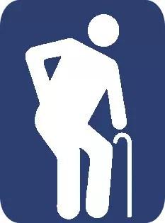 Símbolo anterior: idoso mostrado como um decrépito