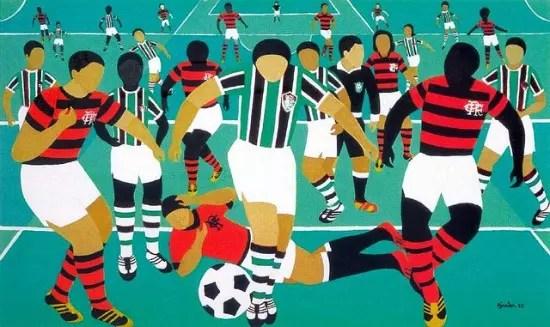 Futebol Fla x Flu, pintado em 1975, pertence ao Museu Nacional de Belas Artes, Rio