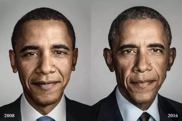 Depois de oito anos na Casa Branca, Obama mostra as marcas do tempo