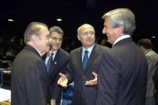 Um quarteto nefasto: José Sarney, Romero Jucá, Renan Calheiros (quando ainda não havia feito implante de cabelo) e Fernando Collor de Melo