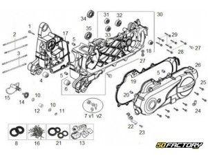 Vue éclatée carters moteur Kymco Agility 50 cc 4t