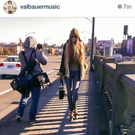 Sean Allen filming me on the Burnside Bridge in Portland.
