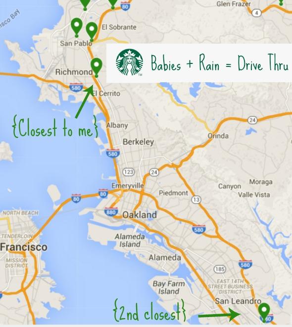 Drive thru Starbucks in the East Bay
