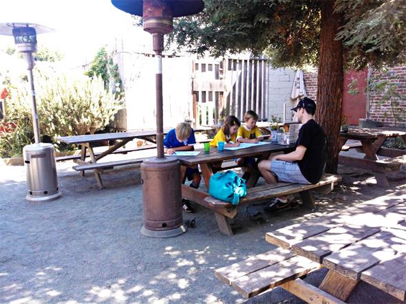 Eating outdoors at Lanesplitters in Berkeley