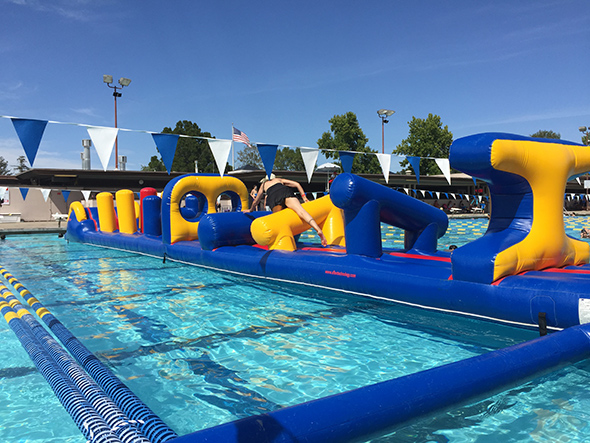 Inflatable Obstacle Course at Walnut Creek Swimming Pool