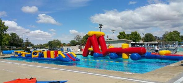 Obstacle course in Walnut Creek swimming pool