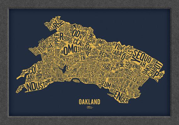 We love this print of Oakland neighborhoods