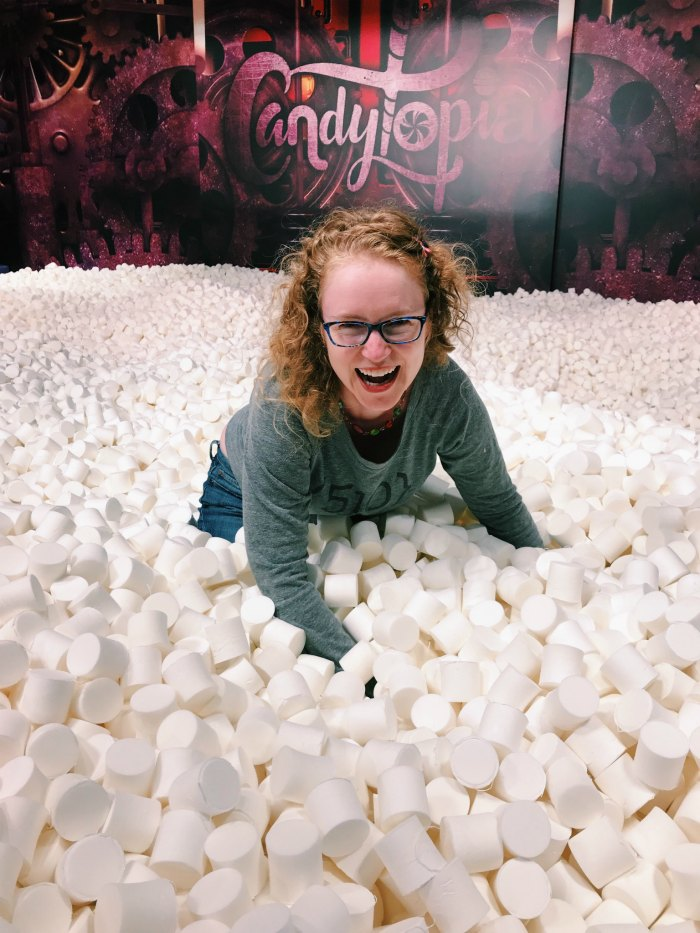 Diving face first into foam marshmallows, why not?