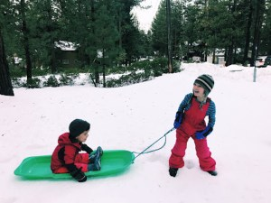 Sledding and playing in the Tahoe snow