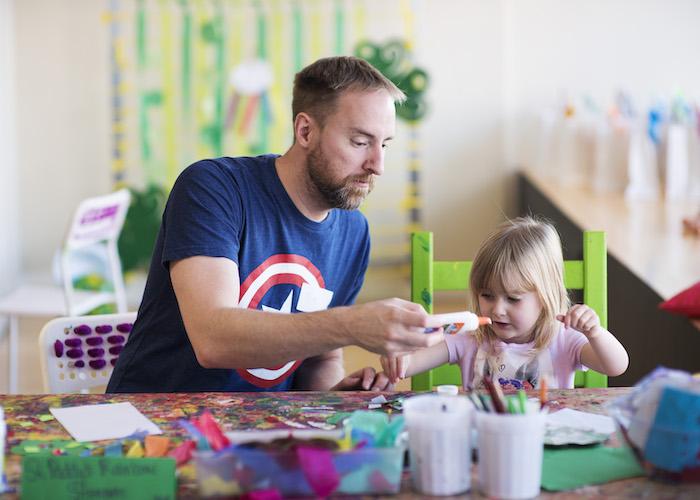Preschooler doing art at Twirl, Alameda
