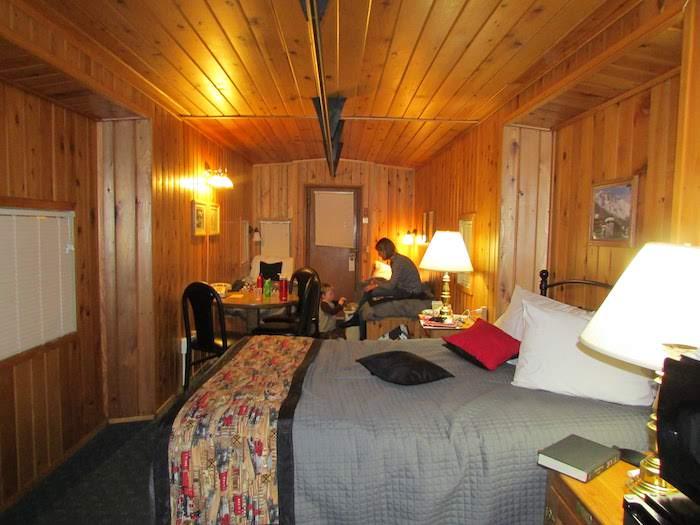 Converted train caboose interior was warm and cozy