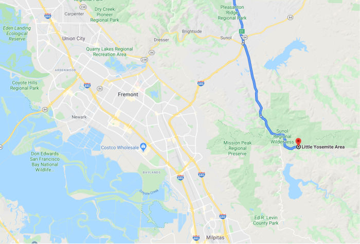 East Bay Area map to Little Yosemite